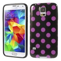 Gelové puntíkaté pouzdro na Samsung Galaxy S5- černofialové