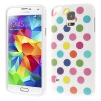 Gelové puntíkaté pouzdro na Samsung Galaxy S5- bílobarevné