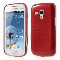 Kartáčované puzdro pre Samsung Galaxy Trend, Duos- červené