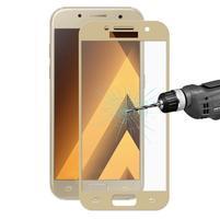 Celoplošné fixačné tvrdené sklo pre Samsung Galaxy A3 (2017) - zlatý lem