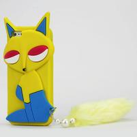 Gélové 3D puzdro pre iPhone 5, 5s- mačka žltá