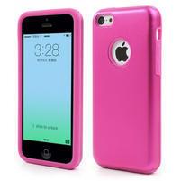 Gélové metalické puzdro pre iPhone 5C- růžové