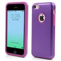 Gélové metalické puzdro pre iPhone 5C- fialové