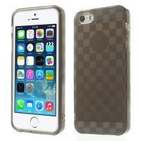 Gel-kostkaté puzdro pre iPhone 5, 5s- sivé