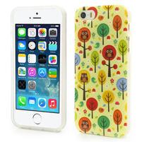 Gélové puzdro na iPhone 5, 5s- Sovy a stromy