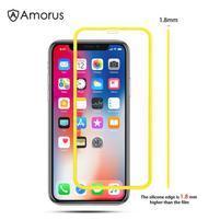AMS celoplošné tvrdené sklo so silikónovým okrajom na mobil Apple iPhone 11 6.1 (2019) - žlté