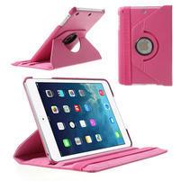 PU kožené 360° puzdro pre iPad mini- růžové