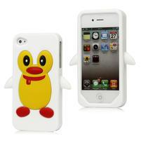 silikónový Tučniak na iPhone 4 4S - biele