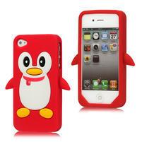 silikónový Tučniak na iPhone 4 4S - červený