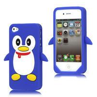 silikónový Tučniak na iPhone 4 4S - modrý