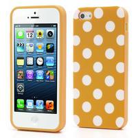Gélové PUNTÍK puzdro pre iPhone 5, 5s- oranžové