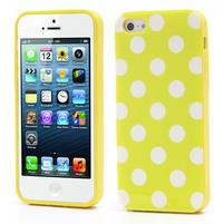Gélové PUNTÍK puzdro pre iPhone 5, 5s- žlté