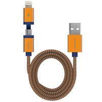 Elite 2v1 nábíjací a prepojovací kapel lightning 8 pin + micro USB - zlatý
