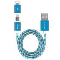 Elite 2v1 nábíjací a prepojovací kabel lightning 8 pin + micro USB - modrý