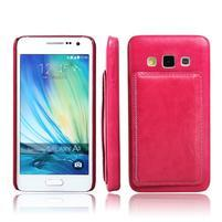 Kožený/plastový kryt so stojanom pre Samsung Galaxy A3 - rose