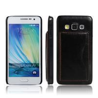 Kožený/plastový kryt so stojanom pre Samsung Galaxy A3    - čierny