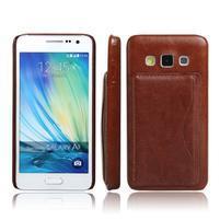 Kožený/plastový kryt so stojanom pre Samsung Galaxy A3    - hnedý