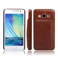 Kožený/plastový kryt se stojánkem na Samsung Galaxy A3 - hnědý