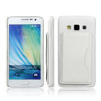 Kožený/plastový kryt so stojanom pre Samsung Galaxy A3    - biely