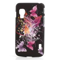 Plastové puzdro pre LG Optimus L5 Dual E455- Motýl a kvet