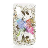 Plastové puzdro pre LG Optimus L5 Dual E455- motýľ biele pozadí