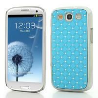 Drahokamové puzdro pre Samsung Galaxy S3 i9300 - světlě-modré