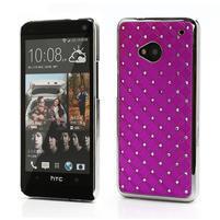 Drahokamové puzdro pre HTC one M7- ružové