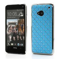 Drahokamové puzdro pre HTC one M7- svetlo modré