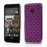 Drahokamové puzdro pre HTC one M7- fialové