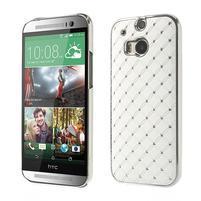 Drahokamové puzdro pre HTC one M8- biele
