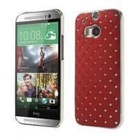 Drahokamové puzdro pre HTC one M8- červené