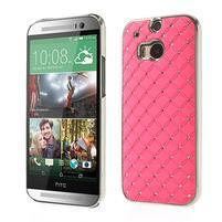 Drahokamové puzdro pre HTC one M8- světlerůžové