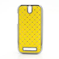Drahokamové puzdro pre HTC One SV- žlté