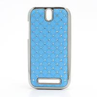Drahokamové puzdro pre HTC One SV- svetlo modré