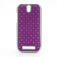 Drahokamové puzdro pre HTC One SV-fialové