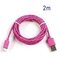 Tkaný odolný micro USB kabel s dlžkou 2m - rose