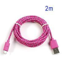 Tkaný odolný micro USB kabel s délkou 2m - rose