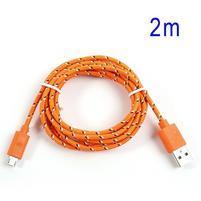 Tkaný odolný micro USB kabel s dlžkou 2m - oranžový