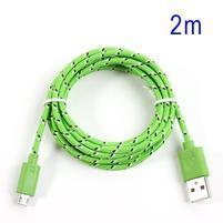 Tkaný odolný micro USB kabel s dlžkou 2m - zelený
