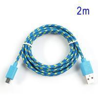 Tkaný odolný micro USB kabel s dlžkou 2m - modrý