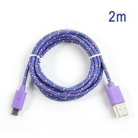 Tkaný odolný micro USB kabel s dlžkou 2m - fialový