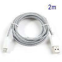 Tkaný odolný micro USB kabel s dlžkou 2m - biely