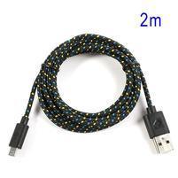 Tkaný odolný micro USB kabel s délkou 2m - černý