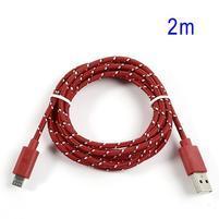 Tkaný odolný micro USB kabel s dlžkou 2m - červený