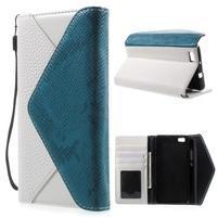 Luxusní peněženkové pouzdro na Huawei P8 Lite - bílé / modré