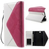 Luxusní peněženkové pouzdro na Huawei P8 Lite - bílé / rose