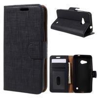 Cloth PU kožené puzdro pre mobil Microsoft Lumia 550 - čierne
