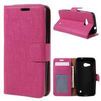 Cloth PU kožené puzdro na mobil Microsoft Lumia 550 - rose