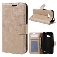 Cloth PU kožené puzdro pre mobil Microsoft Lumia 550 - champagne