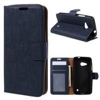 Cloth PU kožené puzdro pre mobil Microsoft Lumia 550 - tmavo modré